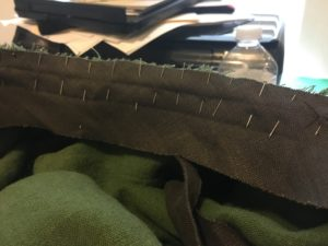 Adding bias tape to serve as the waistband